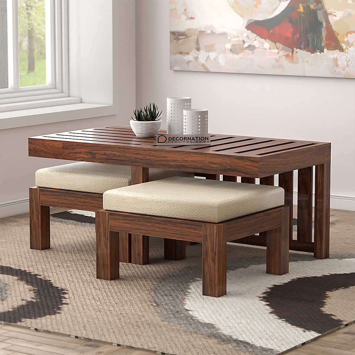 Myron Solid Wooden Coffee Table 2 Stools Natural Finish Decornation