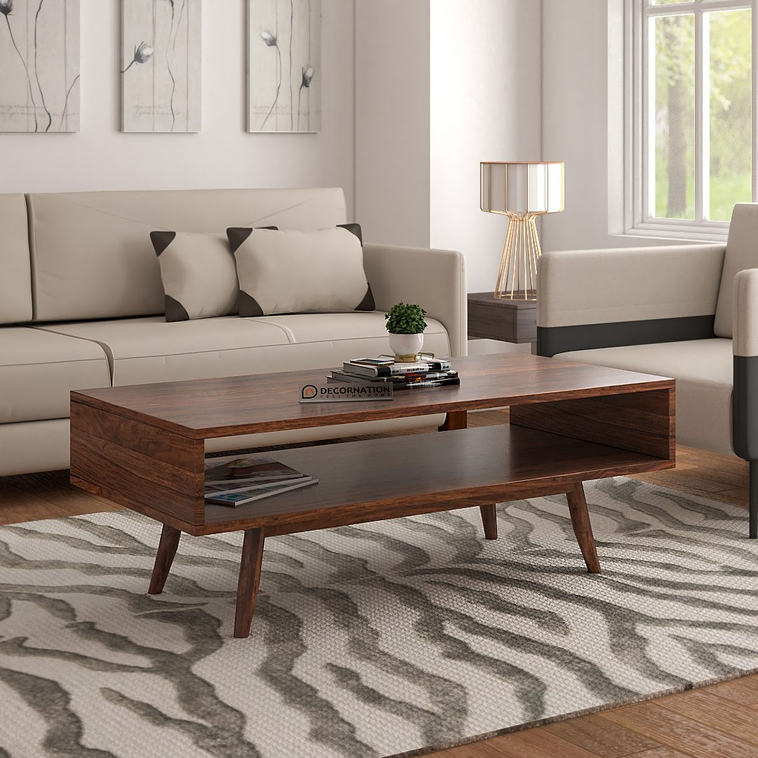 Bangor Solid Wood Coffee Table With Storage Natural Finish Decornation