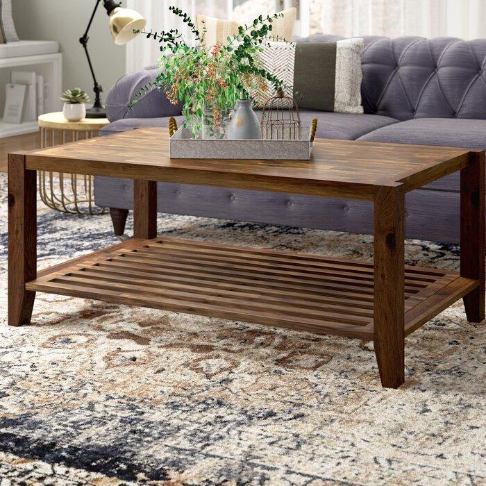 Nea Solid Wooden Coffee Table Light Brown Decornation