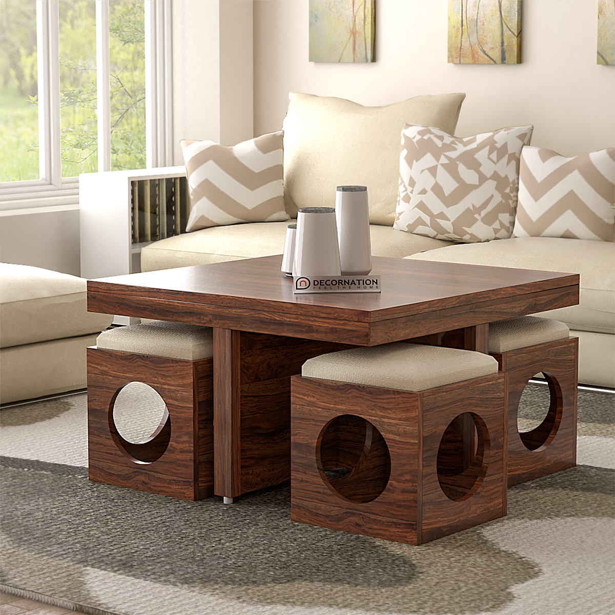 Belfast Wooden Coffee Table With 4 Stools Brown Decornation