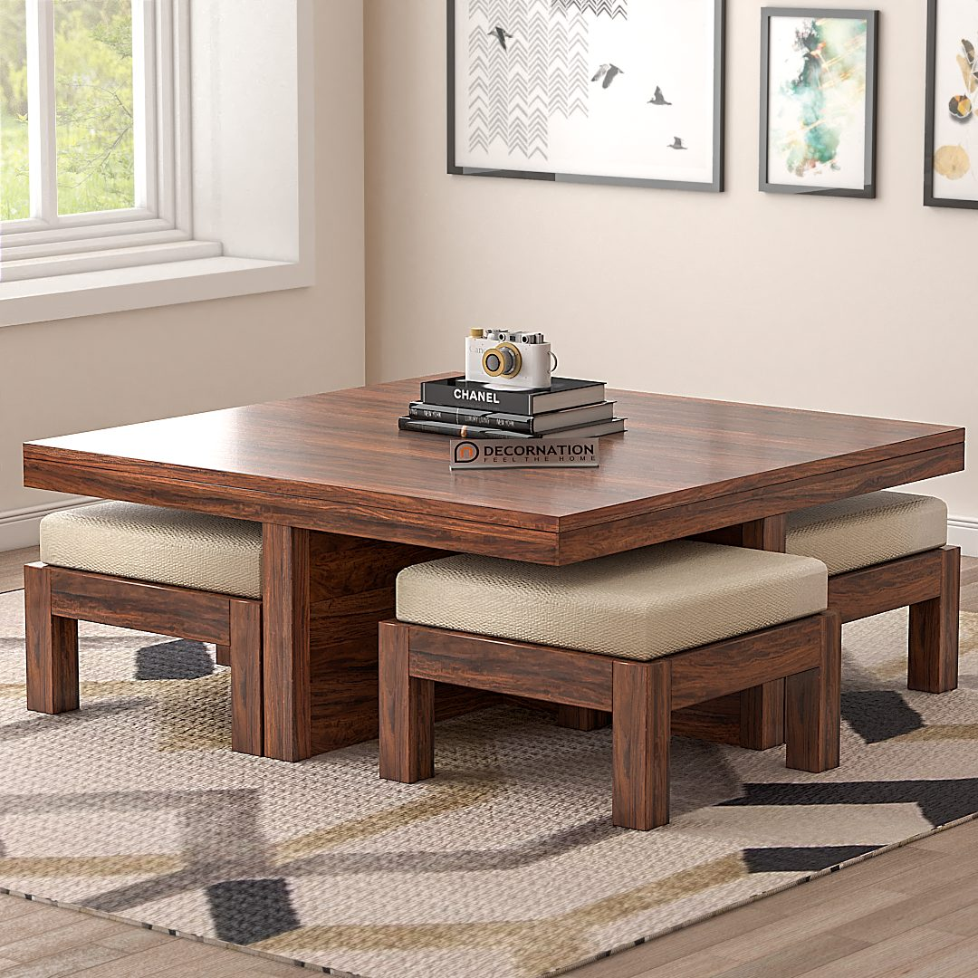 Lanthe Solid Wood Coffee Table With 4 Stools Brown Decornation