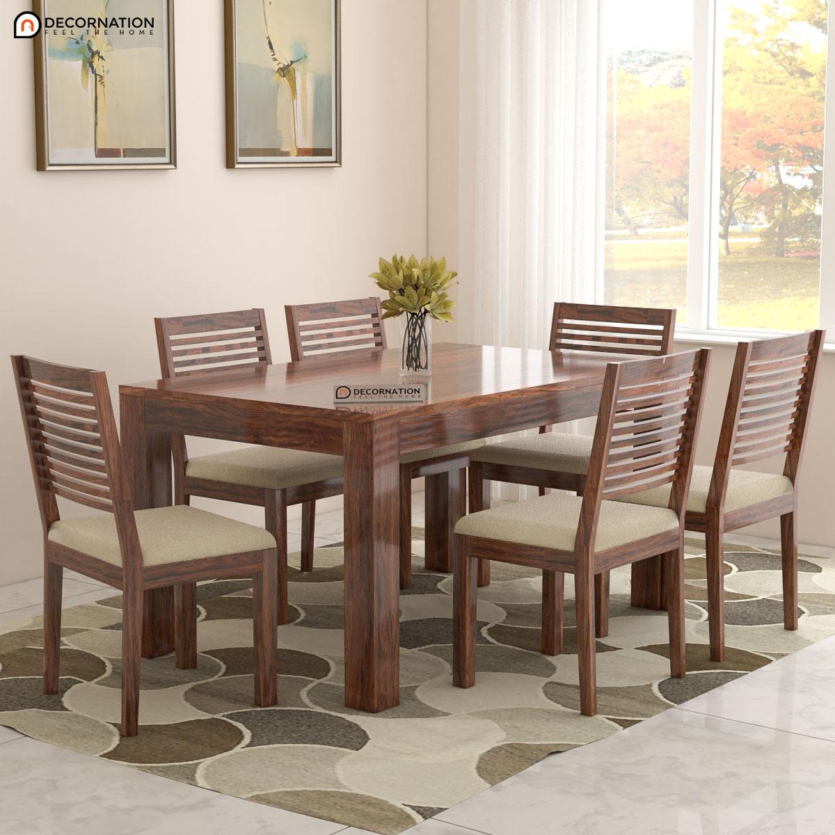 Blankenberge Solid Wood 6 Seater Dining Table Set Decornation