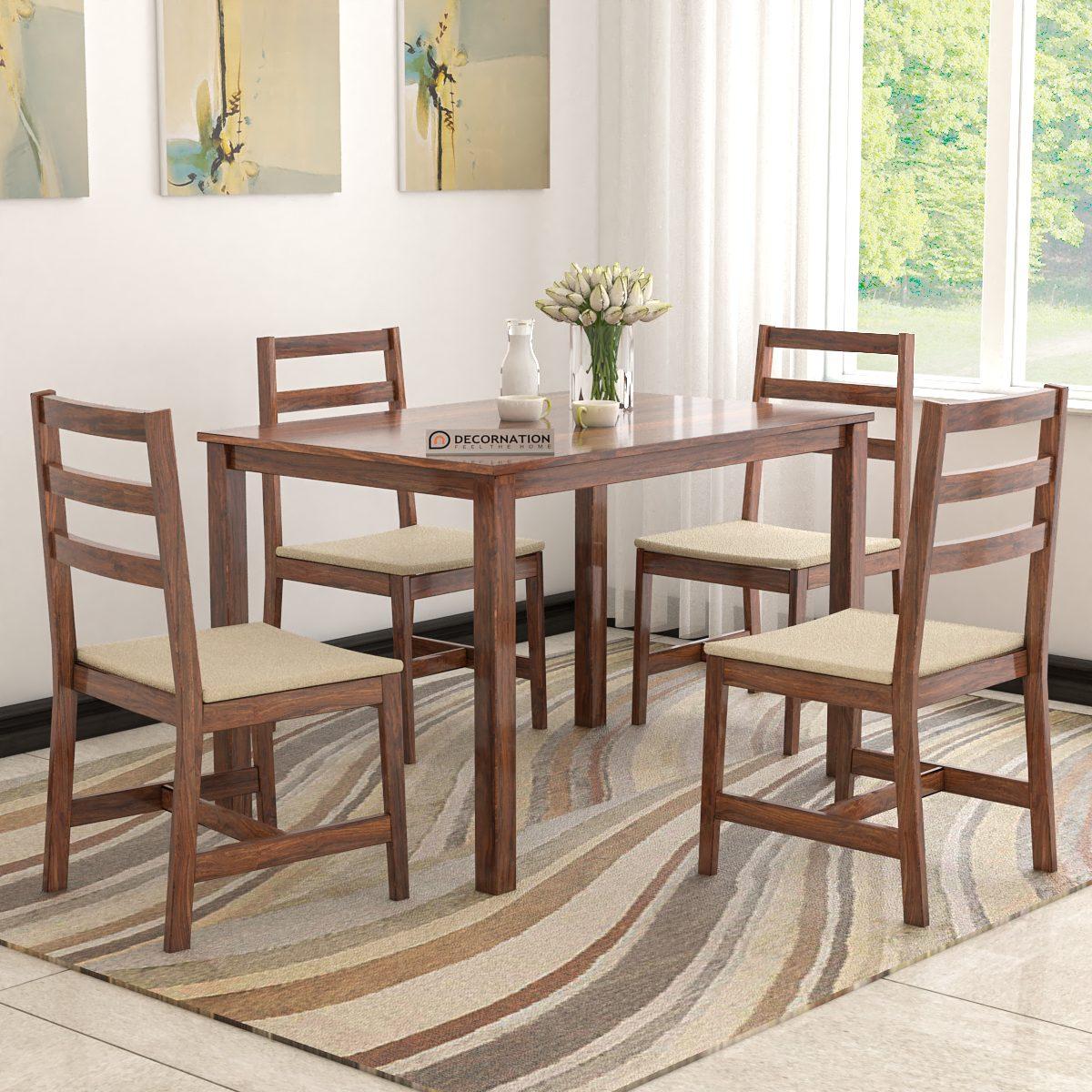 Emilia Solid Wood 4 Seater Dining Table Set Decornation
