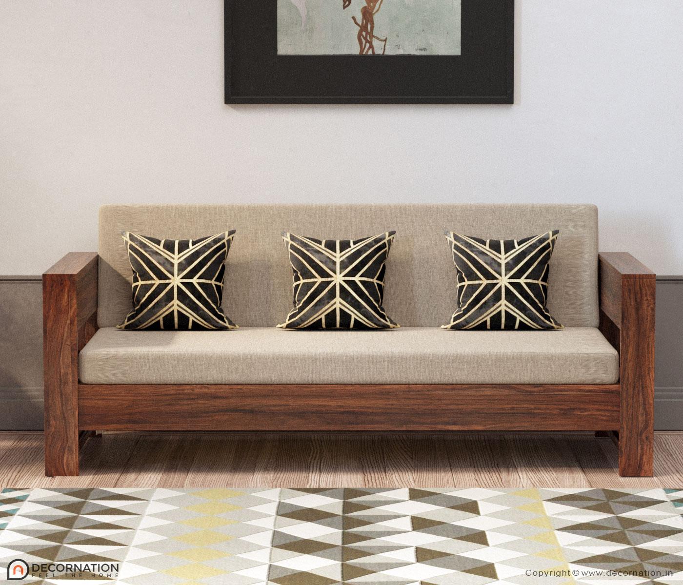Lilian Solid Wood 5 Seater Livingroom Sofa Set - Decornation